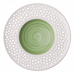 Grand Hotel Flow Perforated color - Gourmetteller tief 30 cm olive / weiss aussen