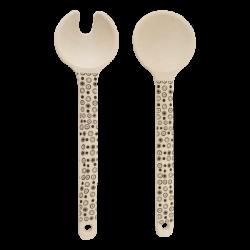 Salat-/Servierbesteck 2-tlg. Nature/Dots 24.8 cm - BASIC Bamboo Fiber