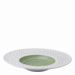 Gourmetteller tief 30 cm olive / weiss aussen - Gaya Atelier Perforated color